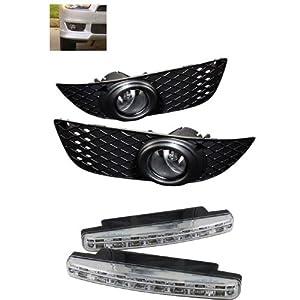 Carpart4u Mitsubishi Lancer OEM Clear Fog Lights & LED Day Time Running Light Package