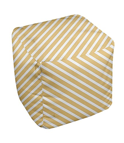 E by design Stripe Pouf, 13-Inch, 2Yellow