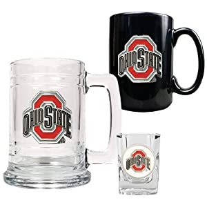 Ohio State Buckeyes NCAA 15oz Tankard, 15oz Ceramic Mug & 2oz Shot Glass Set -... by Great American