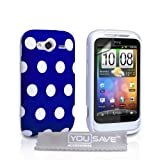 HTC Wildfire S Stylish Polka Dot Silicone Gel Patterned Case Cover And With Screen Protector Film Blue White Spotsby Yousave Accessories