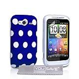 """Yousave Accessories HTC Wildfire S Stilvoll Punkte Silikon Gel Gemustert Schutzh�lle Mit Displayschutz Film Blau Mit Wei� Punkte - Zubeh�r Paketvon """"Yousave"""""""