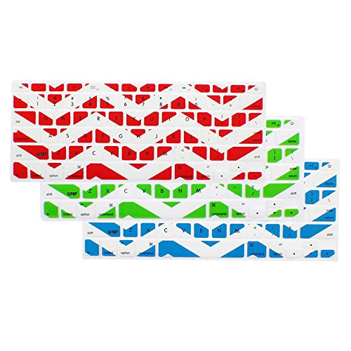 "Litop Wavy Lines Series 3 Pcs (Red And White, Green And White, Light Blue And White) Silicone Keyboard Cover Keyboard Skin For All 13"" 15"" 17"" Macbook, Macbook Pro, Macbook Air Keyboards And Apple Wireless Keyboard"