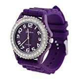 Purple Silicone Gel Ceramic Style Band Crystal Bezel Womens Watch