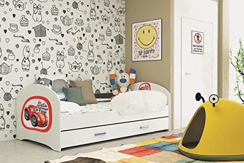 LUCKY 160x80 BLANC Lit pour enfant avec rangement sommier matelas motif au choix