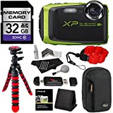 Fujifilm FinePix XP90 Waterproof digital camera (Green), 32GB Class 10, Memory Card Reader, 12