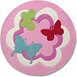 Esprit Home for Kids Butterfly Party Area Rug 3\'3\'\' Round