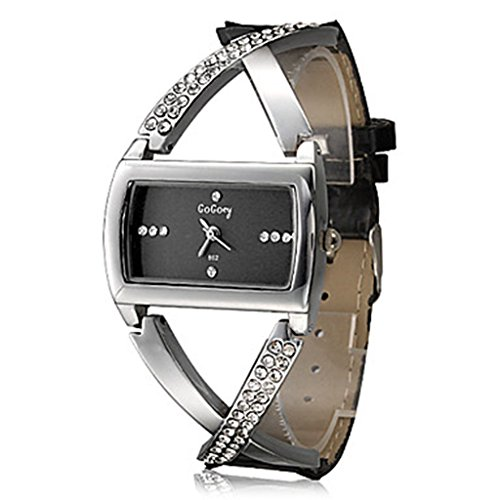 Soleasy Women's Quartz Watch Fashionable Cross Style Diamante PU Band Analog Wrist Watch WTH0822