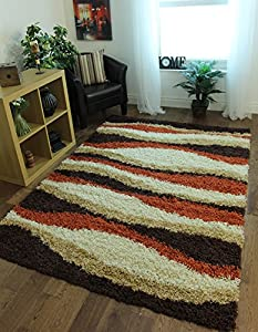 Helsinki Quality Terracotta Orange, Beige & Brown Shaggy Waves Area Rugs 1855 - 4 Sizes Available from The Rug House