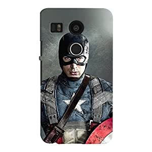 ColourCrust LG Google Nexus 5X New (2016 Edition) Mobile Phone Back Cover With Captain America - Durable Matte Finish Hard Plastic Slim Case
