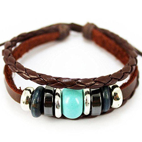 S.S®(sportspirit) Blue Natural Stone Bracelet Generous Braided Wristband Cuff For Unisex - 1