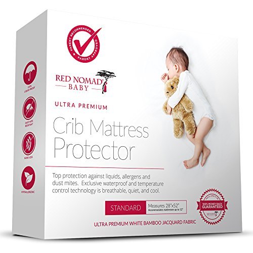 Red Nomad Crib Pad Mattress Protector - Ultra Soft Bamboo Fabric Waterproof Hypoallergenic Cover - Fits All Standard Crib Sizes (Crib Mattress Allergen Covers compare prices)