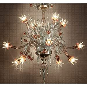 8089 Chandelier Size: 170 cm H x 130 cm Dia, Shade / Dropper Colour: Light Amethyst with Gold Light Green :: Special Offers