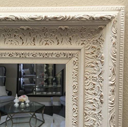 West Frames Elegance Ornate Embossed Antique White Wood Framed Floor Mirror 2
