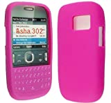 PINK COLOUR KEY PAD SILICONE PROTECTION CASE COVER FOR NOKIA ASHA 302