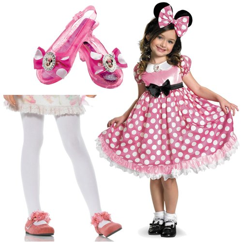 Pink Minnie Mouse Glow in the Dark Toddler Costume with Tights and Minnie Shoes