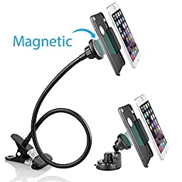 BESTEK 2-in-1 Magnetic Car Mount Holder Gooseneck Flexible Cell Phone Clip Holder for Bed, Car, Desktop, Windshield Mount and Dashboard Mount Holder for Cell Phones, ipad (<500 g)