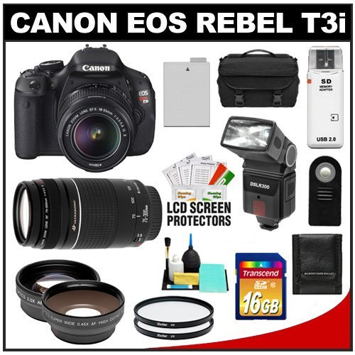 Canon EOS Rebel T3i Digital SLR Camera Body & EF-S 18-55mm IS II Lens with 75-300mm Lens + 16GB Card + .45x Wide Angle & 2x Telephoto Lenses + Flash + Case + Battery + Remote + (2) Filters + Accessory Kit