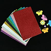 Chiisen Pack Of 10 A4 Size Eva Foam Glitter Sheets - For Crafts, Home. Office, Party Decorations, Diy Crafts (Assorted Colors)