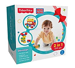 Fisher Price 2 in 1 Gift Set with Baby's First Blocks and Mega Blocks, Multi Color
