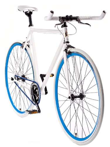 Fixie Track Bike - White Fixed Gear Single Speed Bicycle