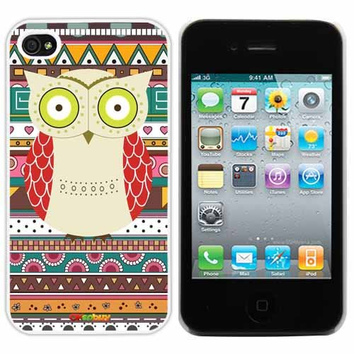 2013new Releases Iphone 4 4s Case Retro Style Owl Aztec Andes Tribal Pattern Iphone 4 Cases White Pc + Pearlescent Aluminum Fs-0317