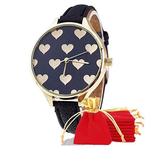 NdB 1309 - [CUORE NERO] Orologio Donna da Polso - Con cinturino regolabile a 6 fori - Quarzo - In Sacchetto vellutato Rosso e Oro - Regalo perfetto