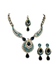 Unicorn's Designer Necklace Set In Blue Along With Matching Earring Made Of Alloy For Women