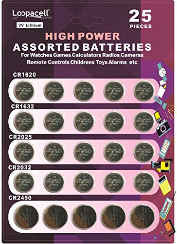 Loopacell High Power Button Cell 3V Lithium Assorted Batteries CR2032, CR2025, CR2450, CR1620, CR1632 (Car Remote Batteries Cr2450 compare prices)
