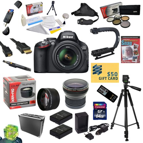 Nikon D5100 Digital SLR Camera with 18-55mm NIKKOR VR Lens With All Sport Accessory Package: 64GB High Speed SDXC Card + Card Reader + 2 Extended Life Batteries + Dual Battery Charger + Opteka HD² 0.20X Wide Angle AF Fisheye Lens + 2.2x HD2 AF Telephoto Lens + 5 Piece Pro Filter Kit (UV, CPL, FL, ND4 and 10x Macro Lens) + HDMI Cable + Hard-Sided ABS Pro Case + Remote Control + Professional 60