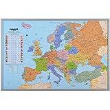 Pinnwand Europakarte inklusive 12 Markierfähnchen ca. B90 x H60 cm