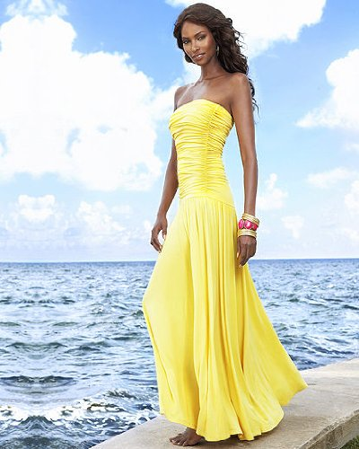 Spiegel Ruched Bandeau Maxi Dress