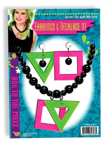 80s Neon Earrings and Necklace Costume Accessory