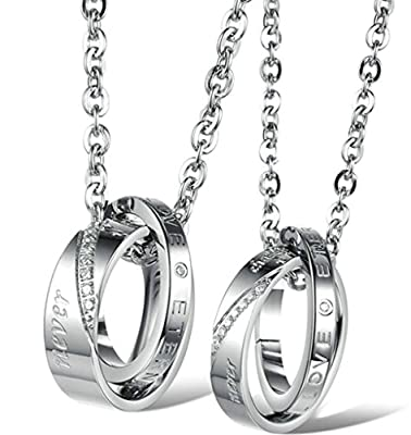 "Beydodo Stainless Steel Couple Pendant Necklaces (Ring Pendant), Double Rings ""Eternal Love"" CZ, Silver"
