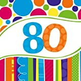 Creative Converting 18 Count Bright and Bold 80th Birthday Lunch Napkins