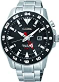 Seiko Men's Sportura, Kinetic, Stainless Steel, Black Dial SUN015P1