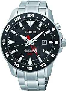 Seiko Men's Sportura, Kinetic, Stainless Steel, Black Dial SUN015P1