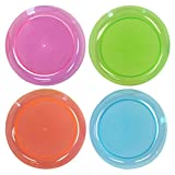 "Northwest Enterprises Hard Plastic 9"" Round Party/Luncheon Plates, Assorted Neon, 20 Count"