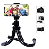 Camera Phone Tripod, Outdoor Travel GoPro Tripod with Bluetooth Remote, Flexible Wrappable Smartphone Mini Stand for iPhone X/Xs/Xs Max/8, Samsung S9??, DSLR Camera, etc.