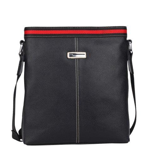 Men's Classic Black Genuine Leather Business Leisure Messeager Shoulder Brief Bag