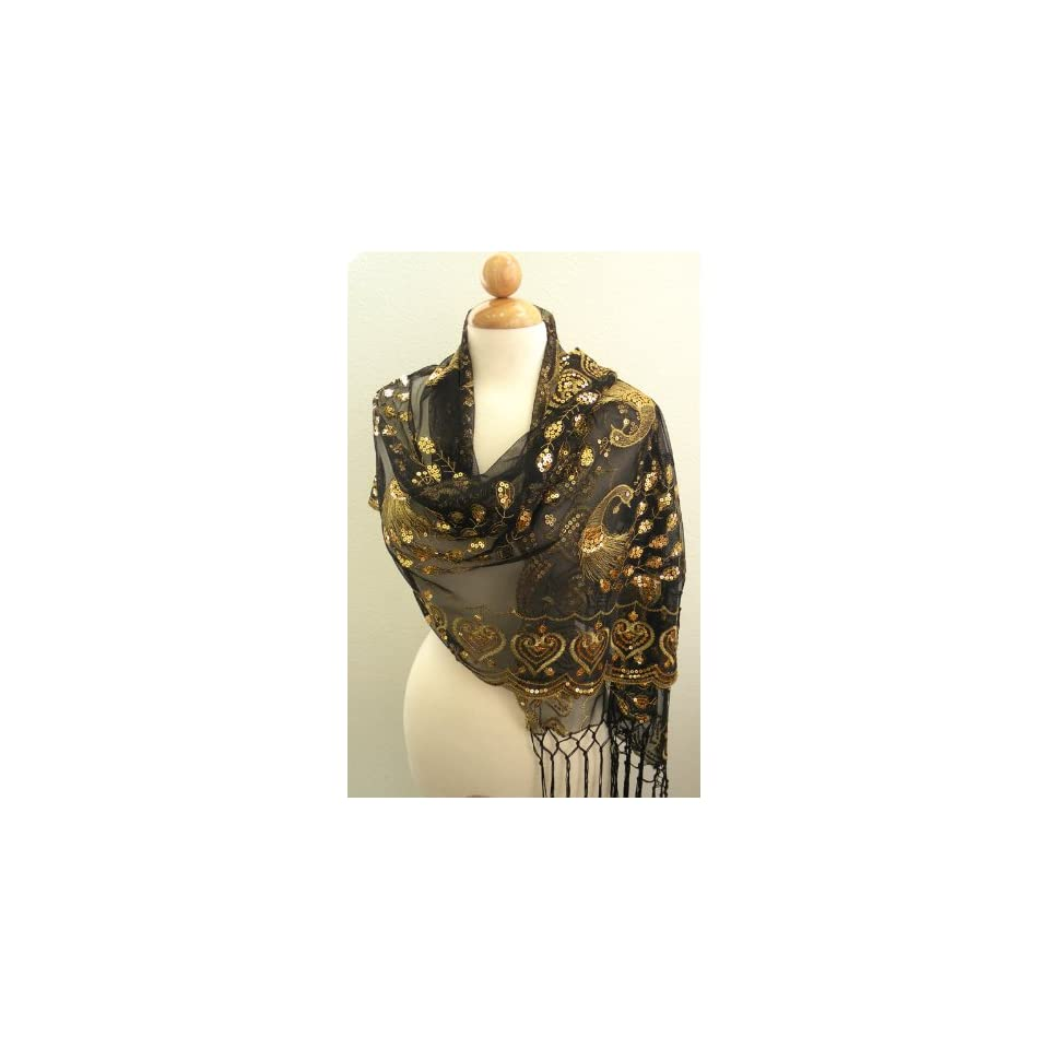 Peacock Scarf,Scarves for Women Italy Style Black Silk Chiffon Shawl w