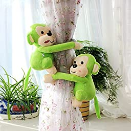 GREENEARTH Drapery curtains Clip Bind for curtain drapes/panels curtain buckle curtain decoration Kids Art Craft Display- cute monkey 2pcs(Green)gift ideal