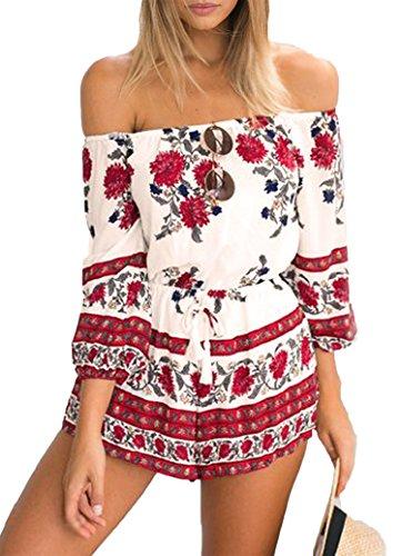 CRAVOG Damen Jumpsuit sexy Clubwear Overall mit Blumen