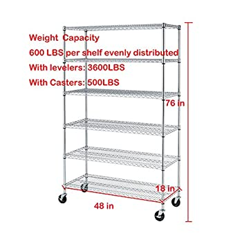 """76""""(H) x 48""""(L) x 18""""(D) Chrome Commercial Heavy Duty 6 Layer/Tire Storage Rack Shelf Adjustable Steel Wire Metal Shelving Rack 3600 LBS Capacity"""