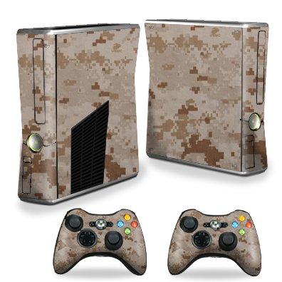 Protective Vinyl Skin Decal Cover for Microsoft Xbox 360 S Slim + 2 Controller Skins Sticker Skins Desert Camo