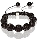 Tibetan Shamballa Unisex Bracelet In All Black (Item Includes Gift Box)