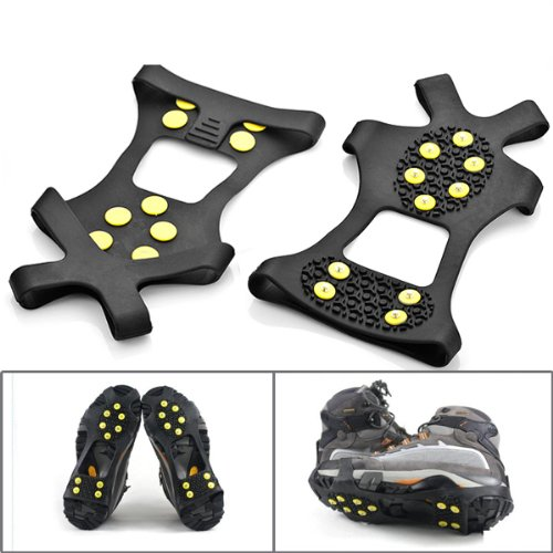 One Pair Anti Skid Black 10 Steel Studs Crampon Walker Walking Snow Ice Cleat US Size 6.5-12 For Winter Sport Cross Country Slippery Icy Road Trail