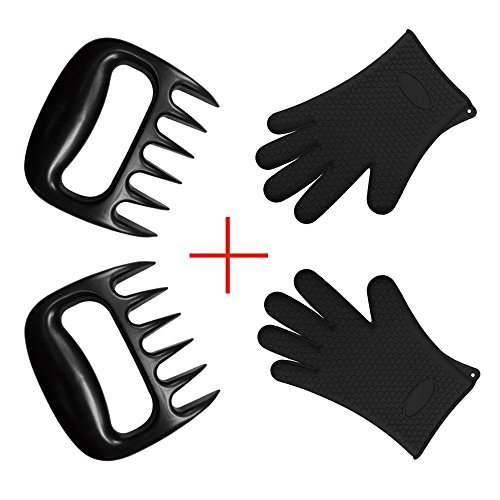 BOGZON-Bear-Barbecue-Meat-ForksClaws-for-Shredding-Pork-and-Beef-Set-of-2-Black-Plus-Silicone-Oven-Gloves-for-BBQ-Baking-Set-of-2-Black-a-Perfect-Combination-for-BBQ-and-Baking