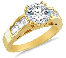 buy Size 7 - Solid 14K Yellow Gold Round Brilliant Cut Solitaire With Baguette Side Stones Highest Quality Cz Cubic Zirconia Engagement Ring 2.0Ct.