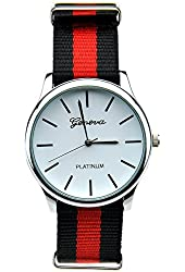 Deedo Unisex Fashion Leisure Collection Black and Red Canvas Straps Watch