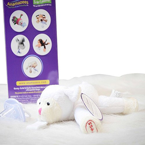 5-in-1 Paci ~Perfect Easter Gift~ Rattle, Squeak Toy, ABC Song, Baby Sensory Development Plushie, AND Holds Paci - Lovie the Lamb - 100% ECO Friendly Materials~ - 1